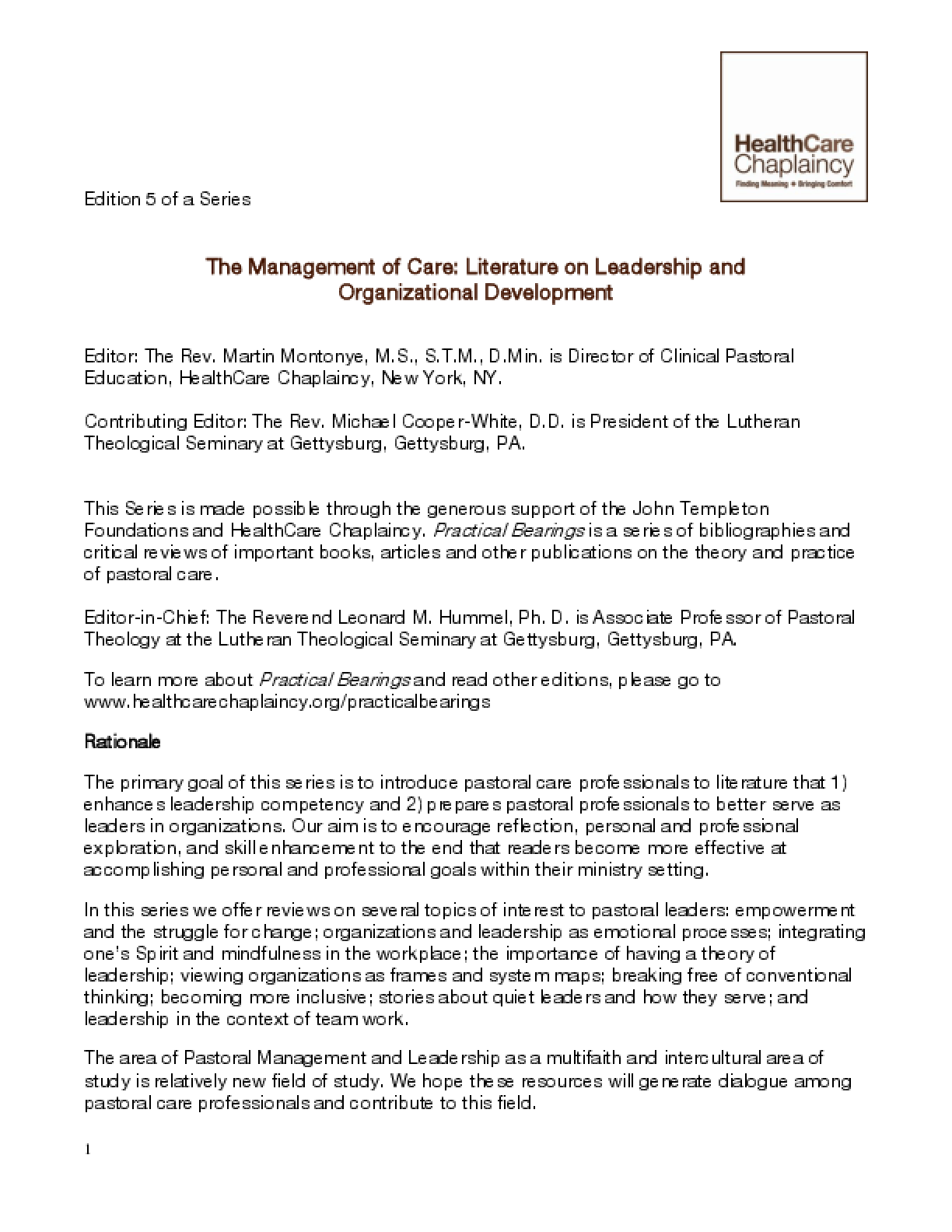 The Management of Care: Literature on Leadership and Organizational Development
