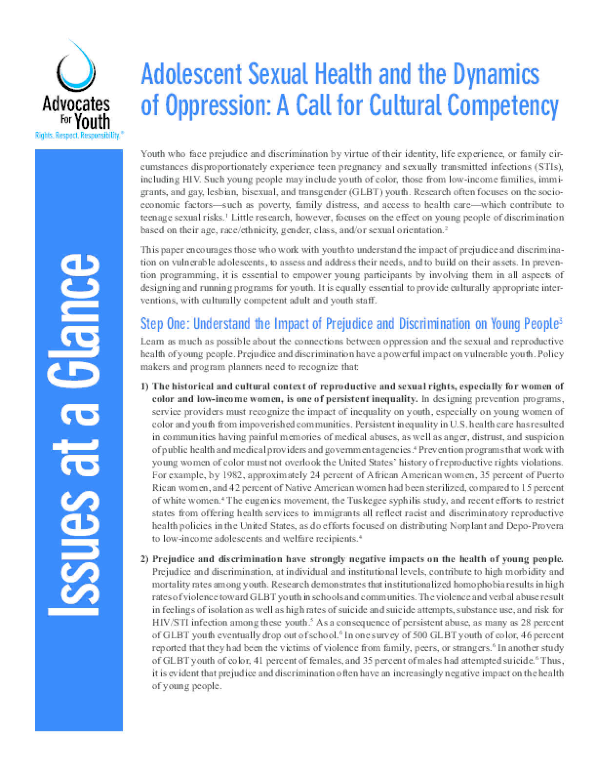 Adolescent Sexual Health and the Dynamics of Oppression: A Call for Cultural Competency