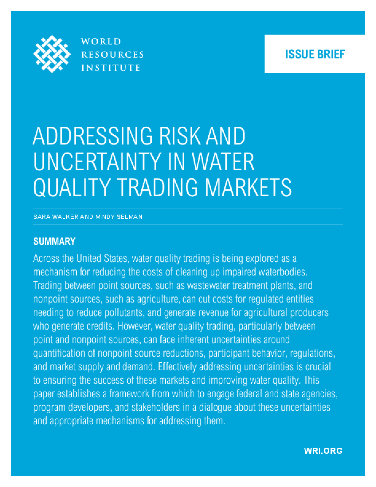 Addressing Risk and Uncertainty in Water Quality Trading Markets