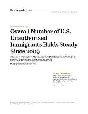 Overall Number of U.S. Unauthorized Immigrants Holds Steady Since 2009: Decline in Share From Mexico Mostly Offset by Growth From Asia, Central America and sub-Saharan African