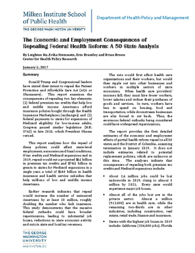 The Economic and Employment Consequences of Repealing Federal Health Reform: A 50 State Analysis