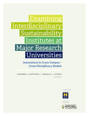Examining Interdisciplinary Sustainability Institutes at Major Research Universities: Innovations in Cross-Campus + Cross-Disciplinary Models