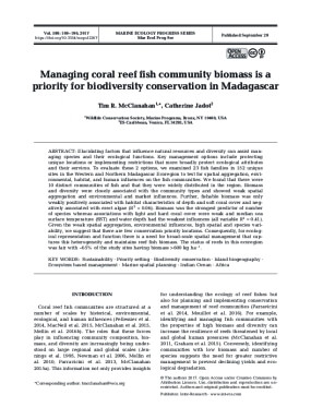 Managing Coral Reef Fish Community Biomass is a Priority for Biodiversity Conservation in Madagascar