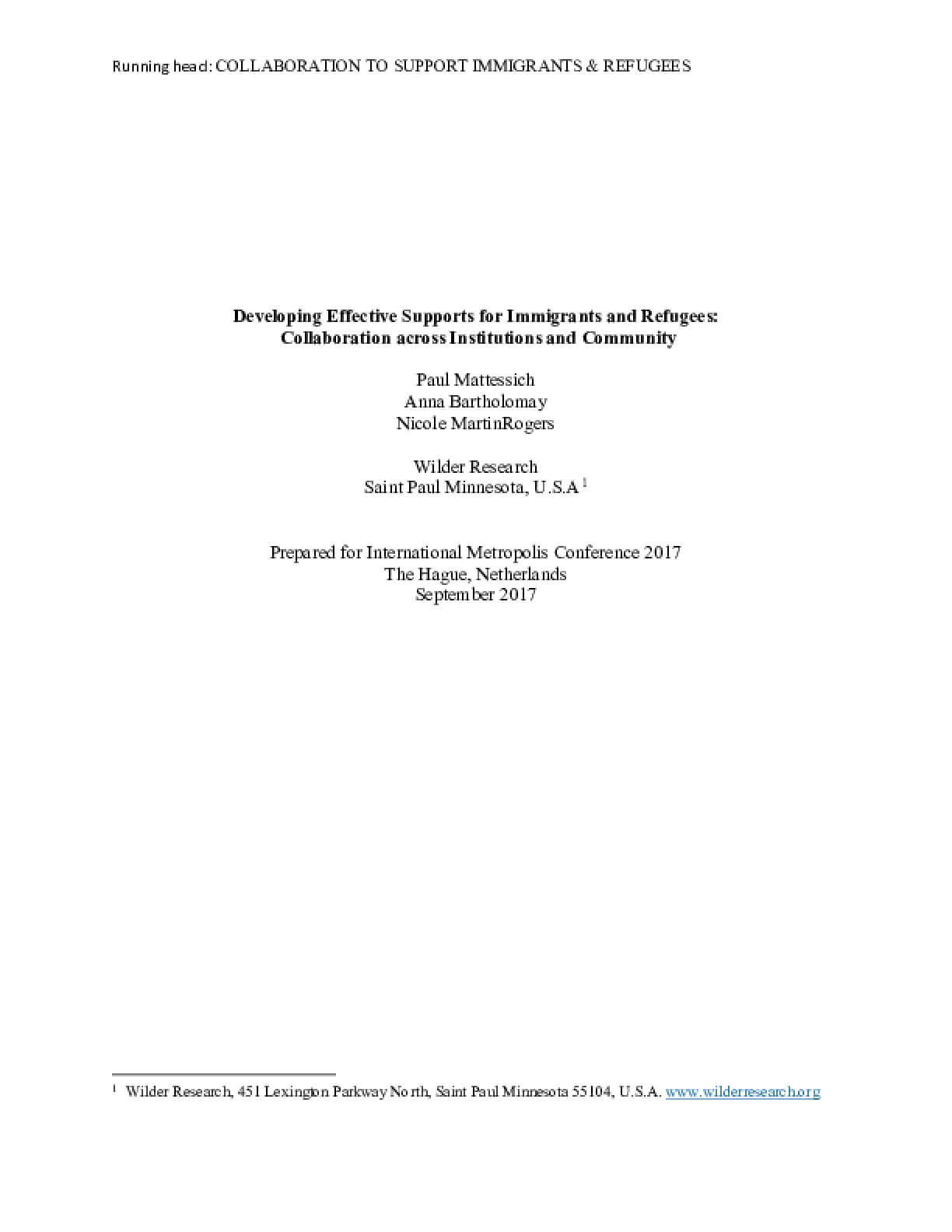 Developing Effective Supports for Immigrants and Refugees: Collaboration across Institutions and Community