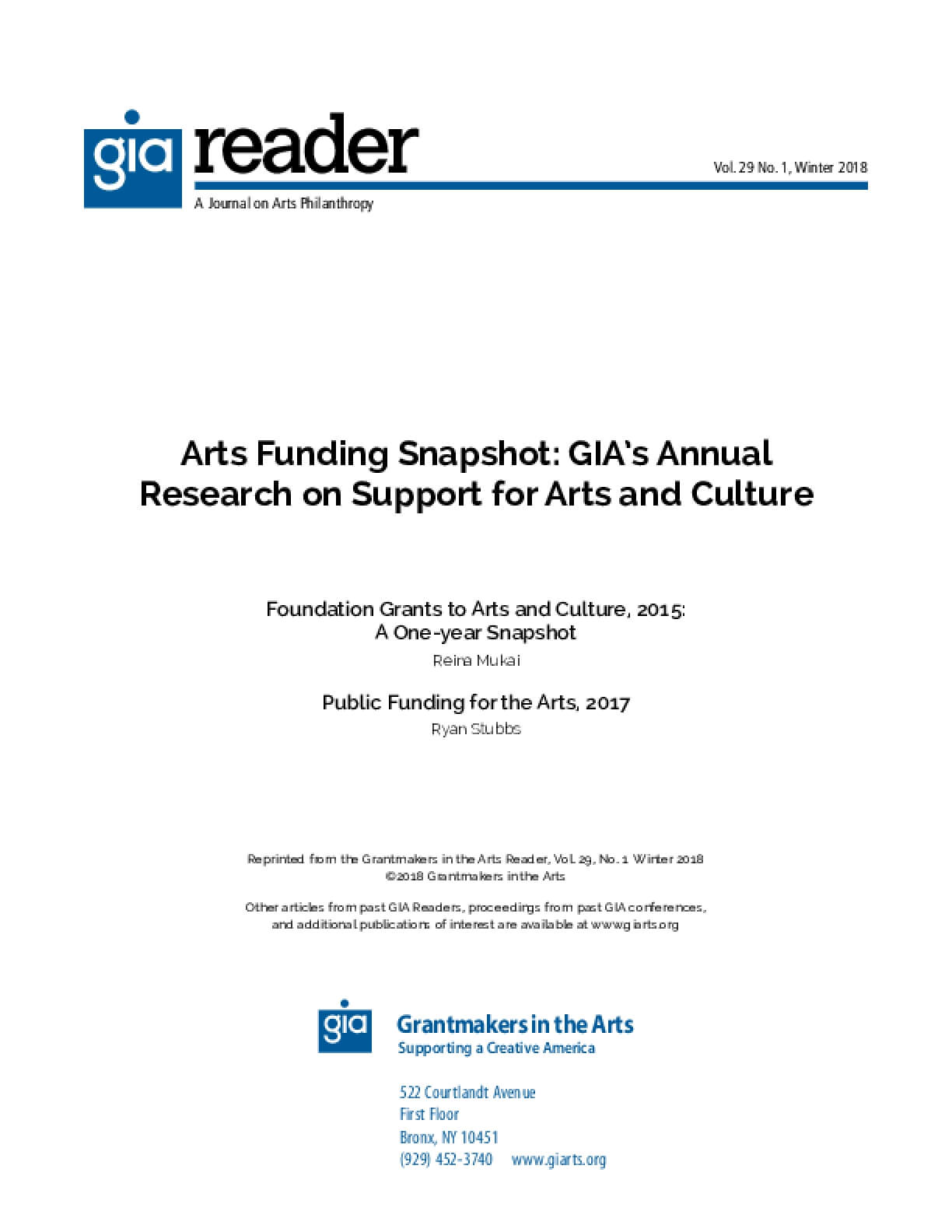 Arts Funding Snapshot: GIA's Annual Research on Support for Arts and Culture