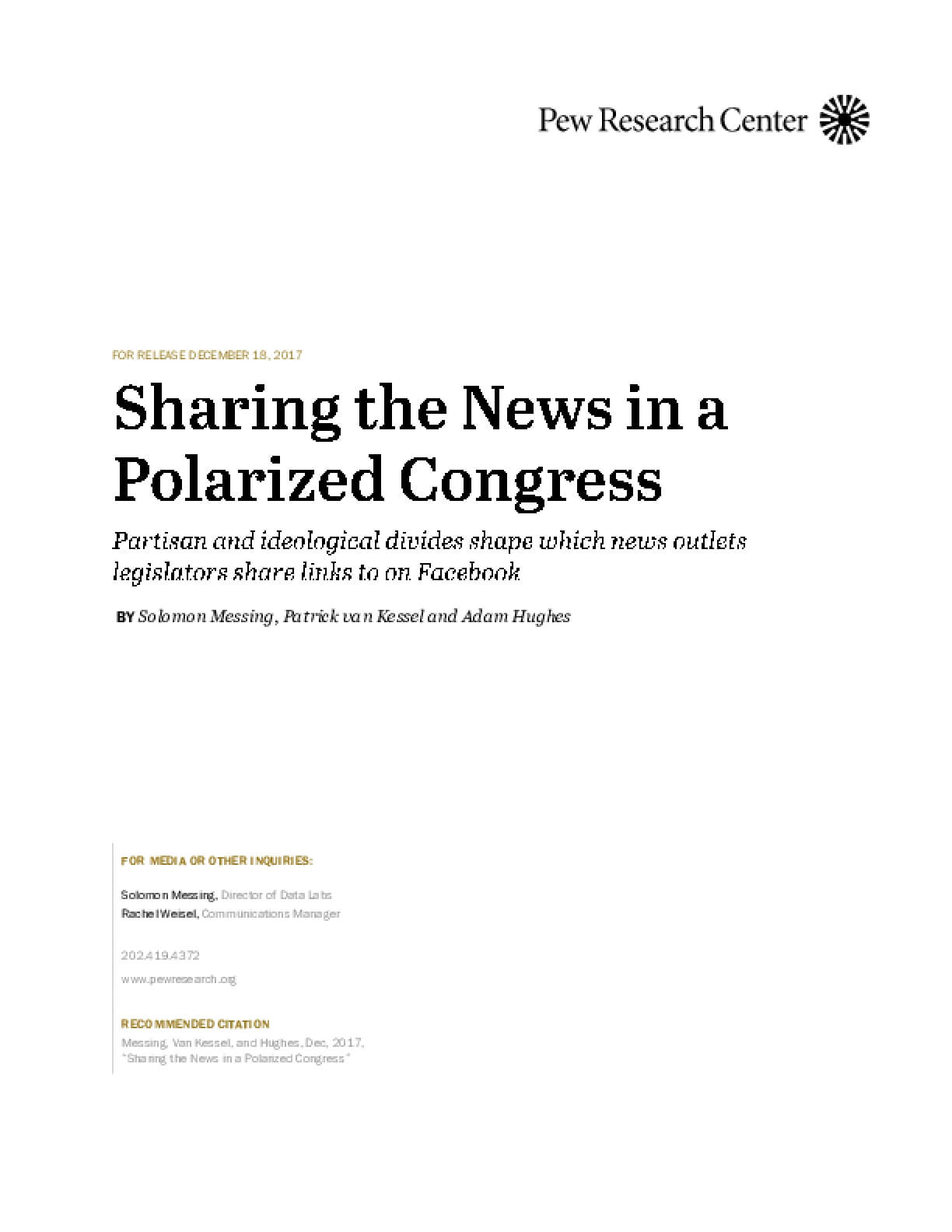 Sharing the News in a Polarized Congress