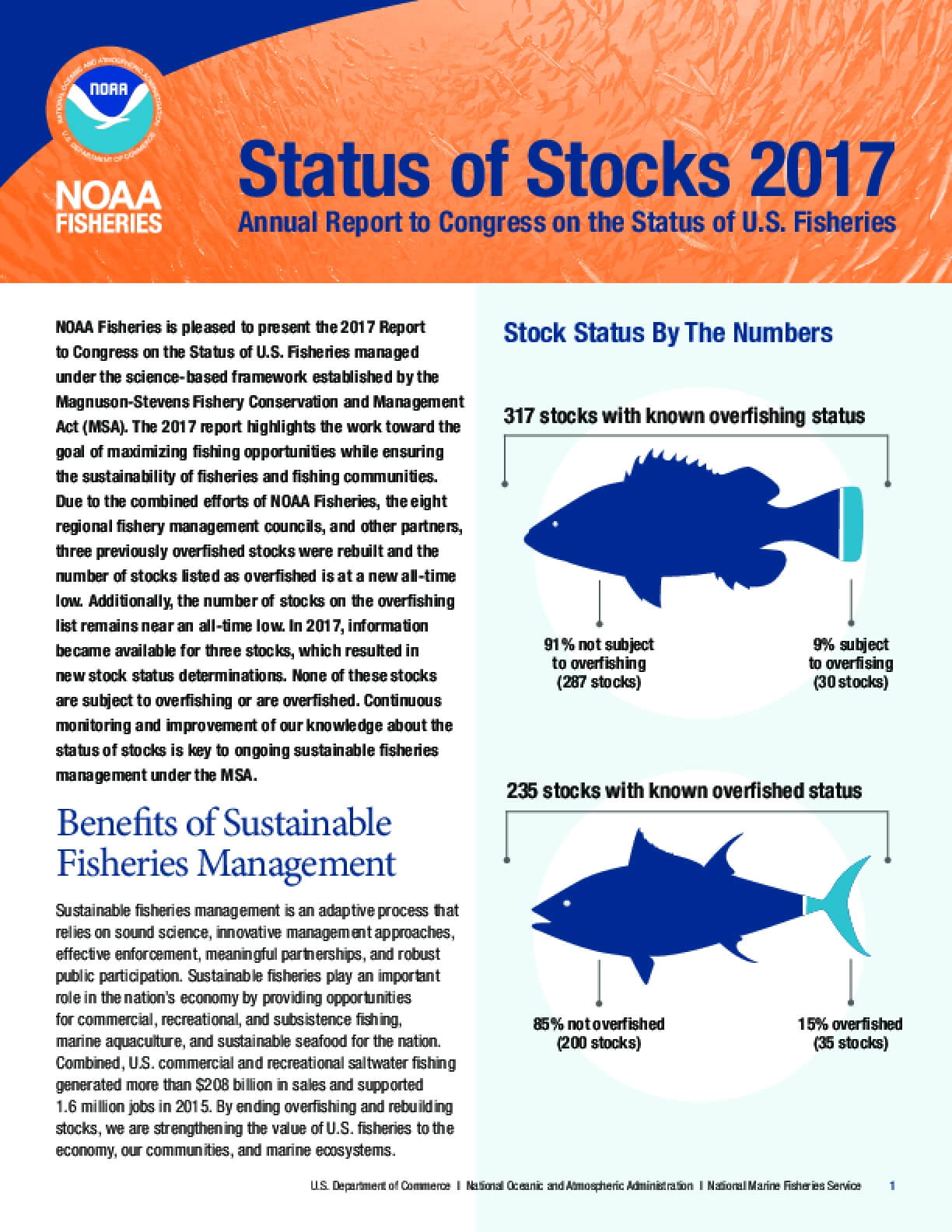 Status of Stocks 2017: Annual Report to Congress on the Status of U.S. Fisheries