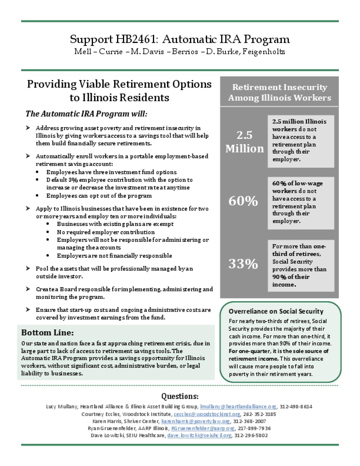 Support HB2461: Automatic IRA Program