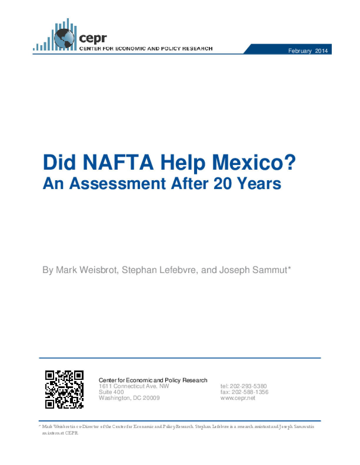 Did NAFTA Help Mexico? An Assessment After 20 Years