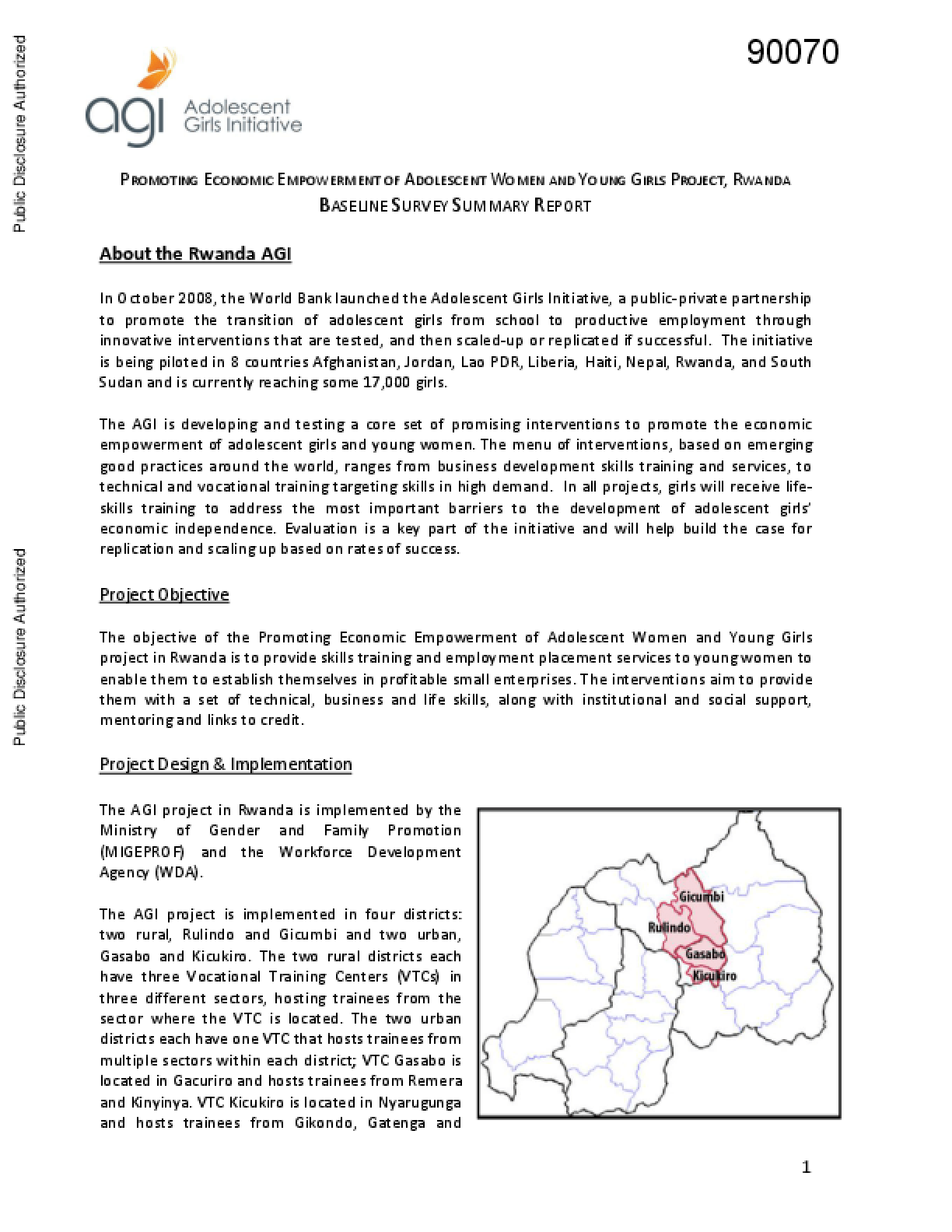 Promoting Economic Empowerment of Adolescent Women and Young Girl's Project, Rwanda: Baseline Survey Summary Report