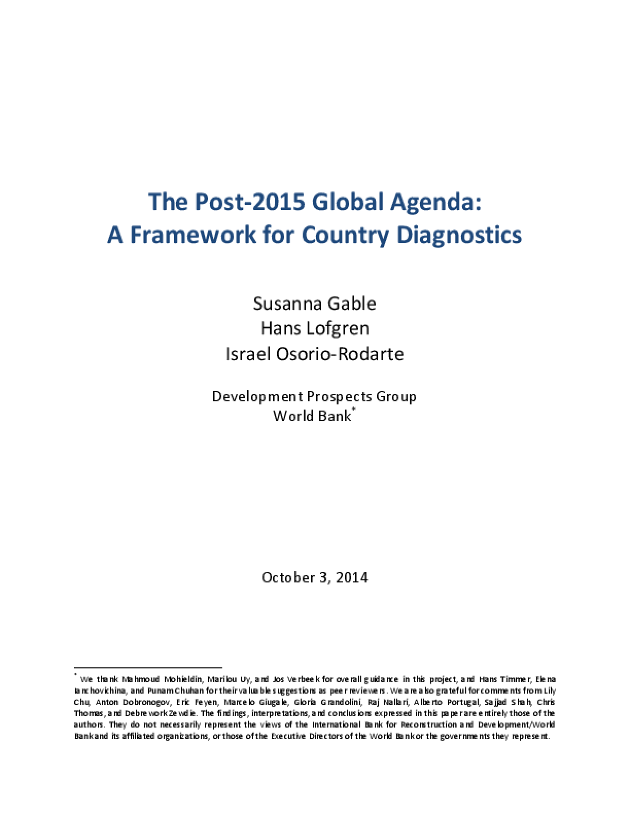 The Post-2015 Global Agenda: A Framework for Country Diagnostics