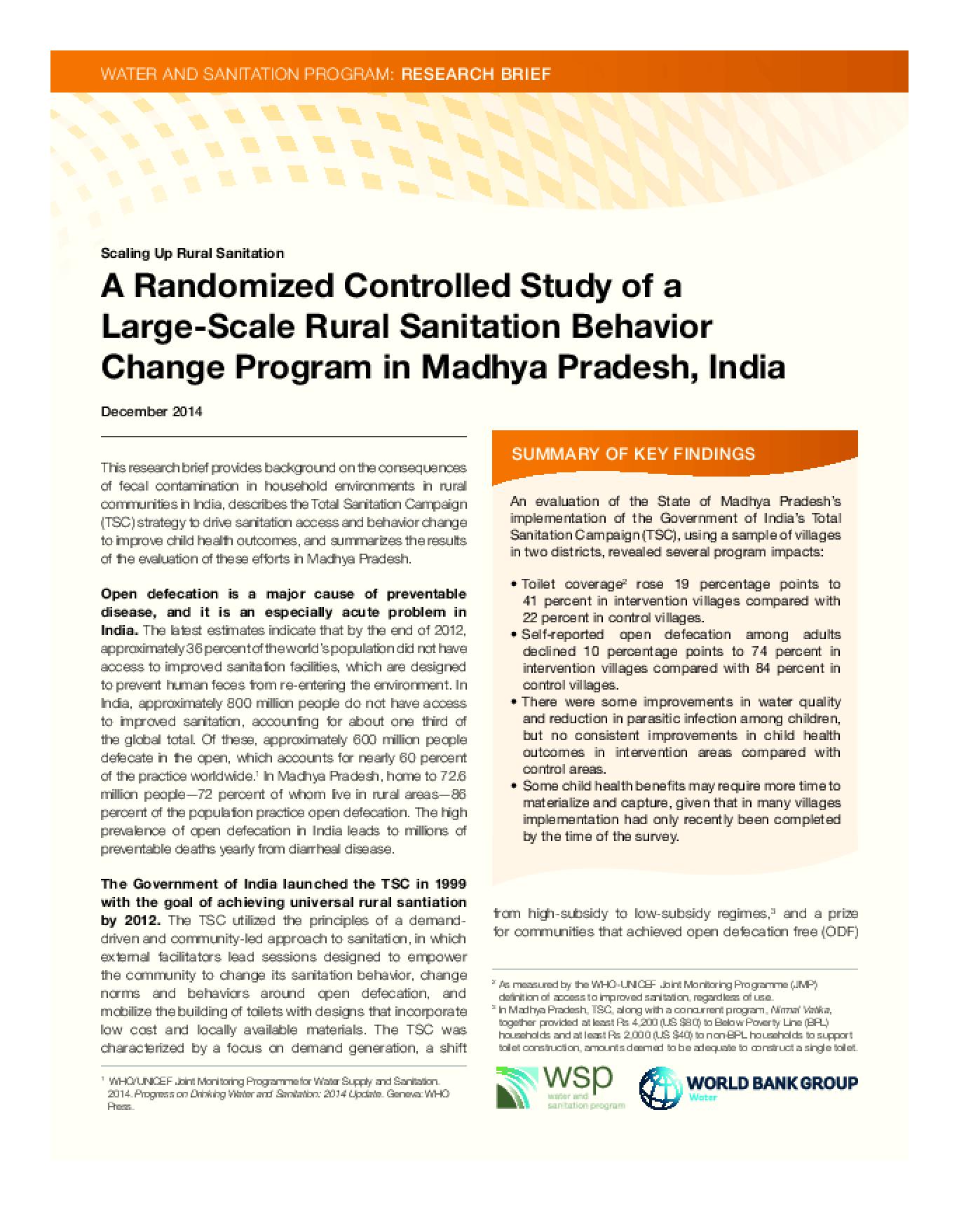 A Randomized Controlled Study of a Large-Scale Rural Sanitation Behavior Change Program in Madhya Pradesh, India