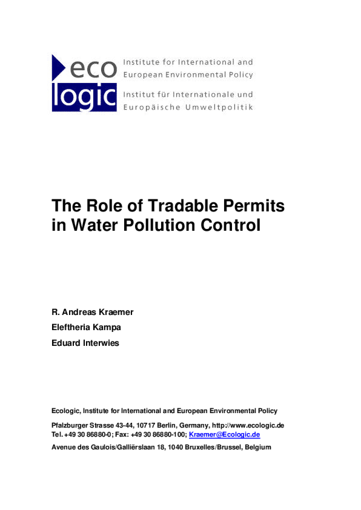 The Role of Tradable Permits in Water Pollution Control