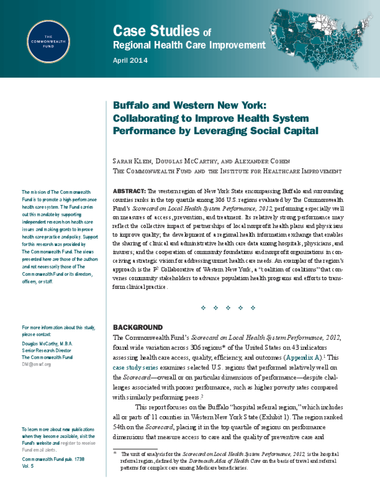 Buffalo and Western New York: Leveraging Social Capital to Collaboratively Improve Health System Performance