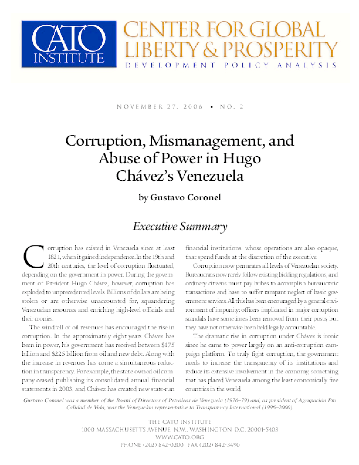 Corruption, Mismanagement, and Abuse of Power in Hugo Chavez's Venezuela