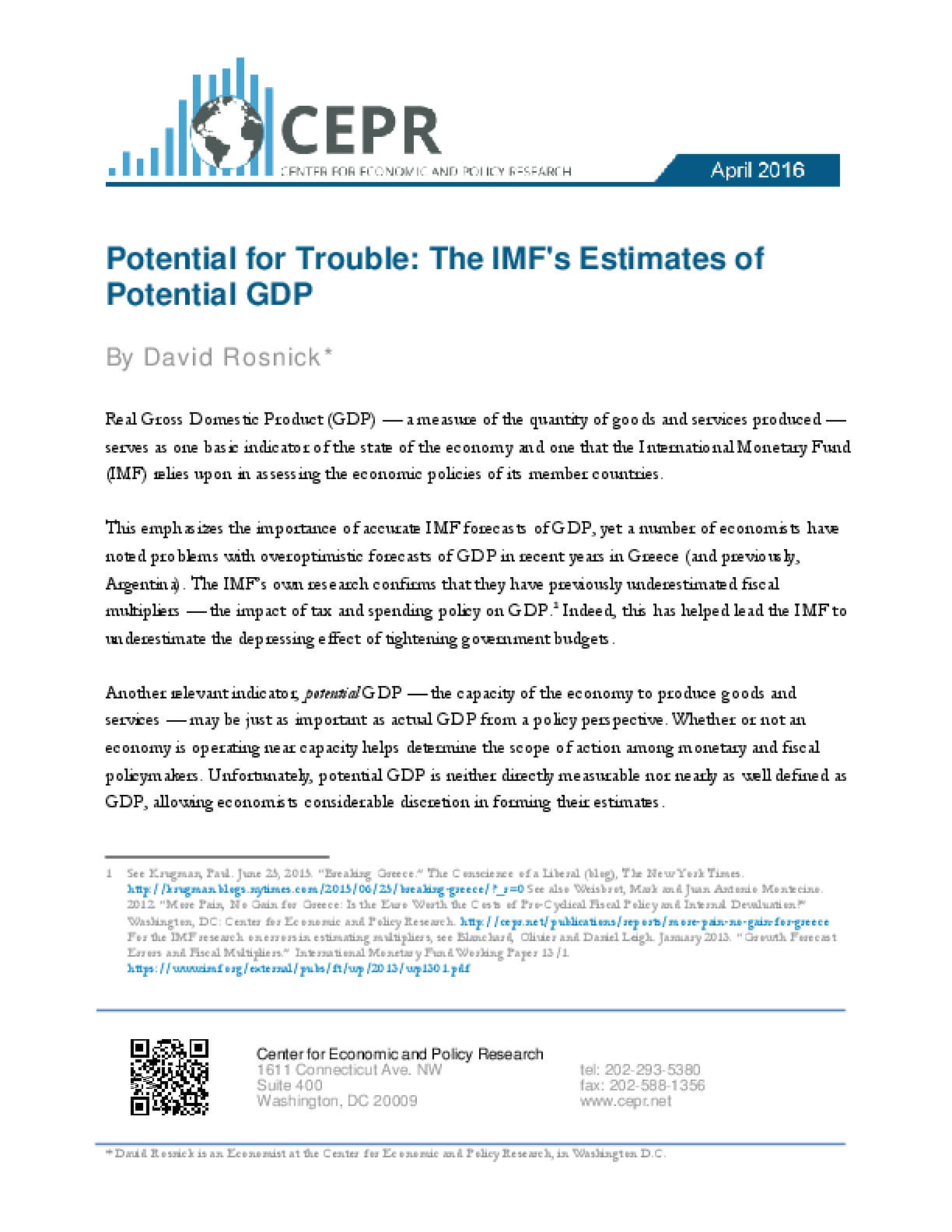 Potential for Trouble: The IMF's Estimates of Potential GDP