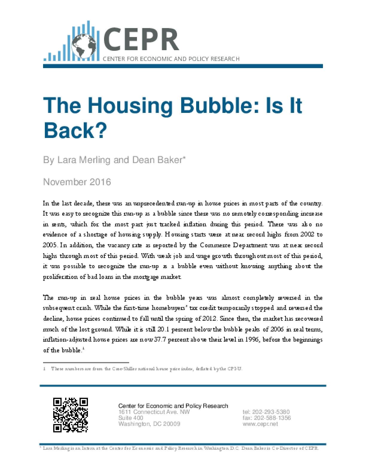 The Housing Bubble: Is It Back?