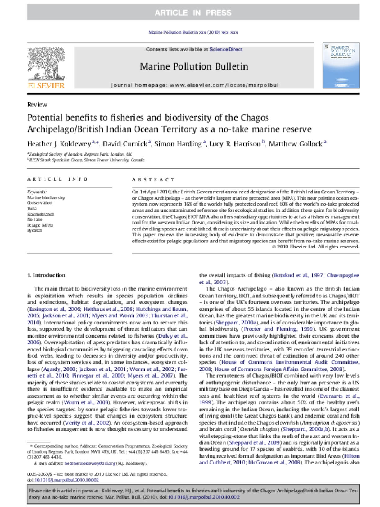 Potential Benefits to Fisheries and Biodiversity of the Chagos Archipelago Territory as a No-Take Marine Reserve