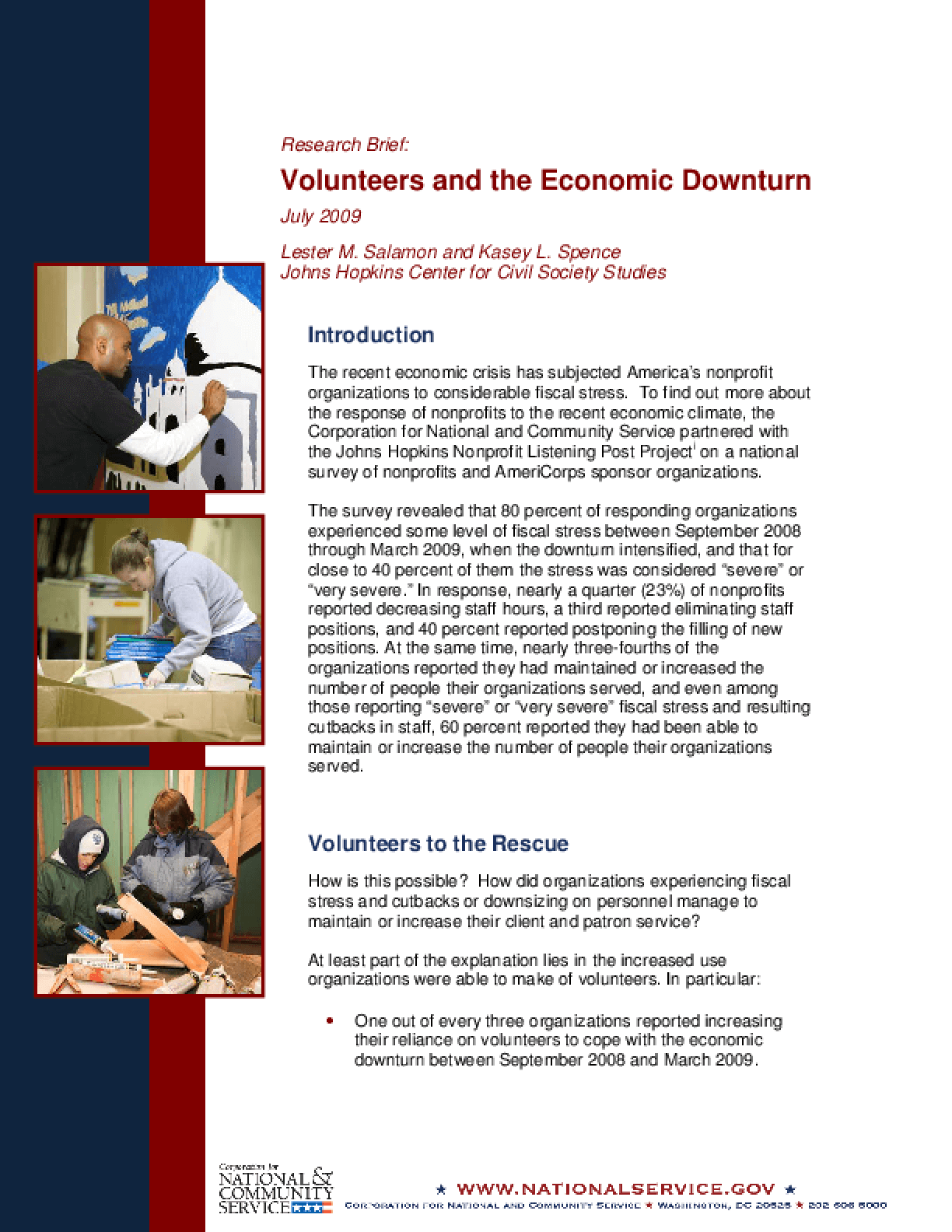 Volunteers and the Economic Downturn