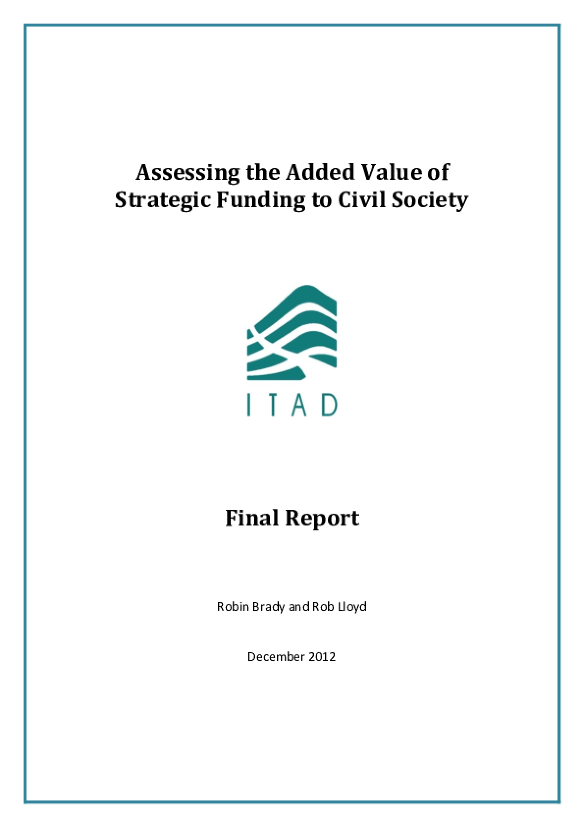 Assessing the Added Value of Strategic Funding to Civil Society