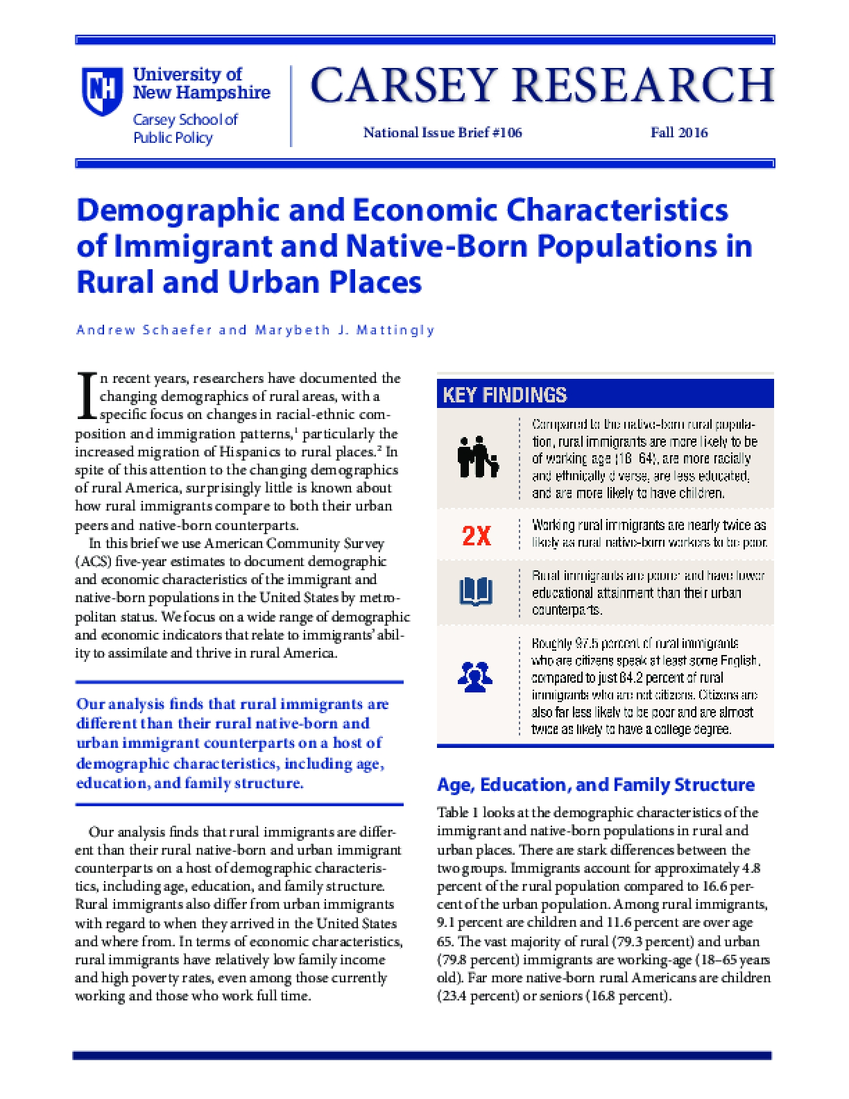 Demographic and Economic Characteristics of Immigrant and Native-Born Populations in Rural and Urban Places