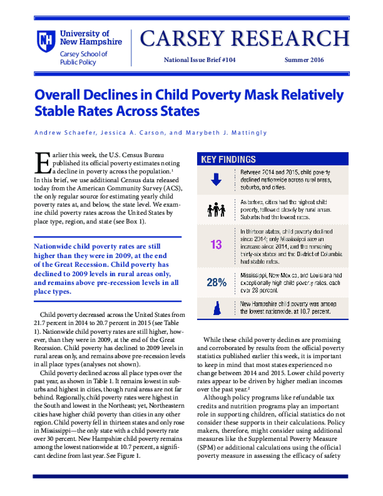 Overall Declines in Child Poverty Mask Relatively Stable Rates Across States