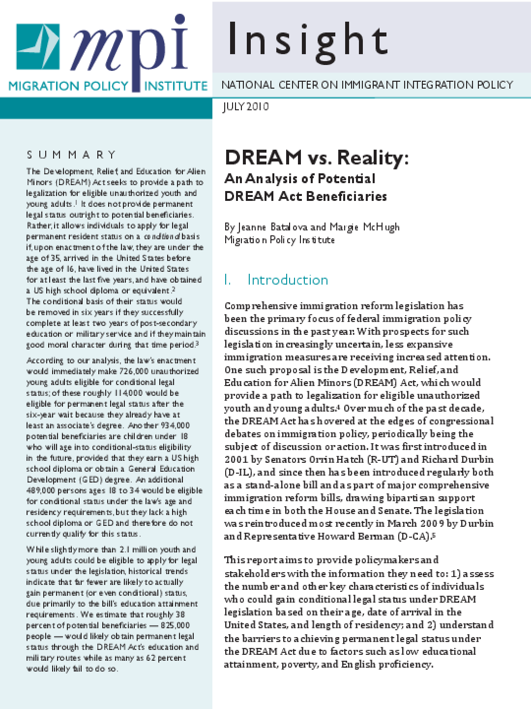 DREAM vs. Reality: An Analysis of Potential DREAM Act Beneficiaries